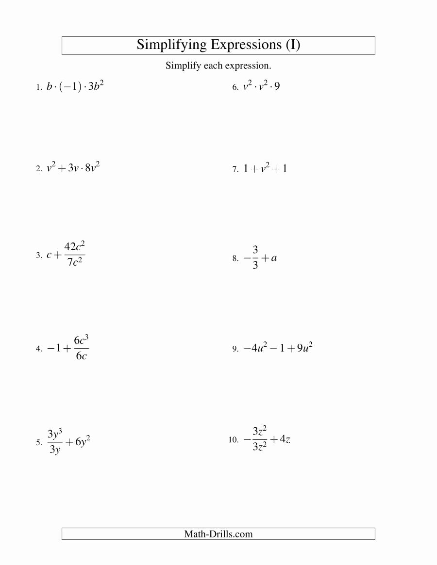 Simplifying Algebraic Expressions Worksheet Lovely Simplifying Algebraic Expressions with E Variable and