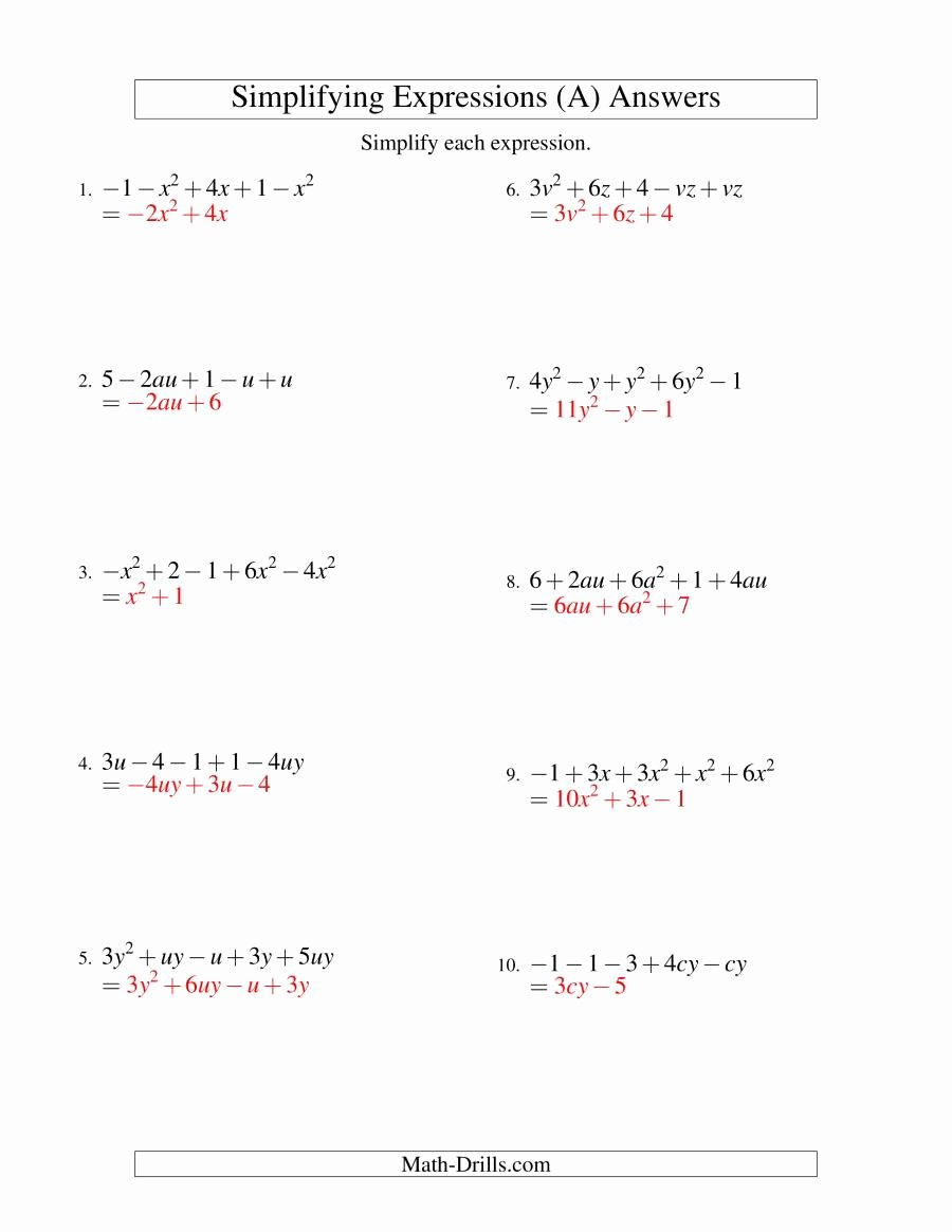 Simplifying Algebraic Expressions Worksheet Lovely Simplifying Algebraic Expressions with Two Variables and