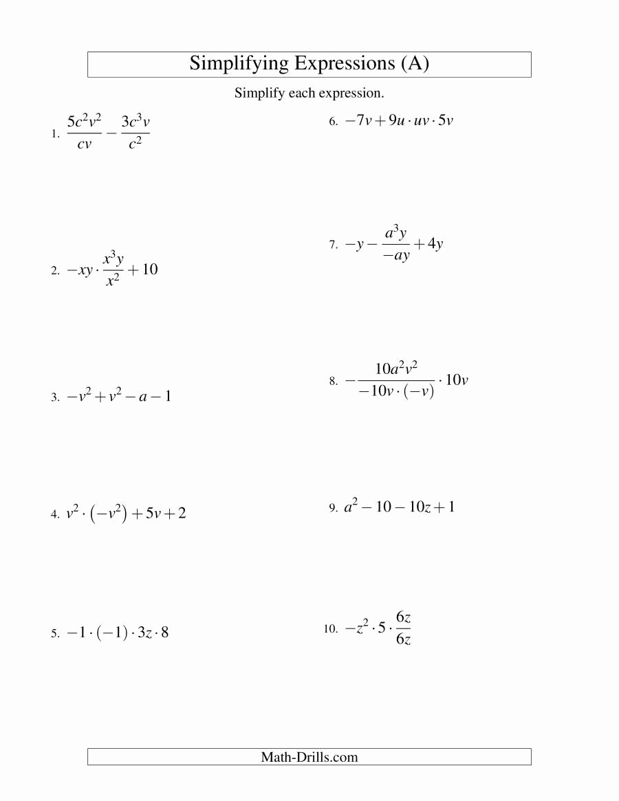 Simplifying Algebraic Expressions Worksheet New Simplifying Algebraic Expressions with Two Variables and