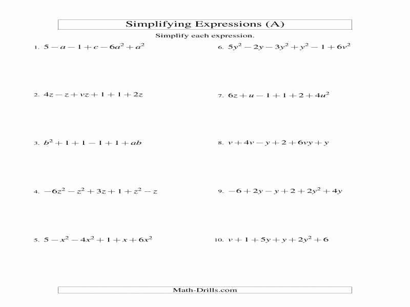 Simplifying Algebraic Expressions Worksheet New Simplifying Expressions Worksheet