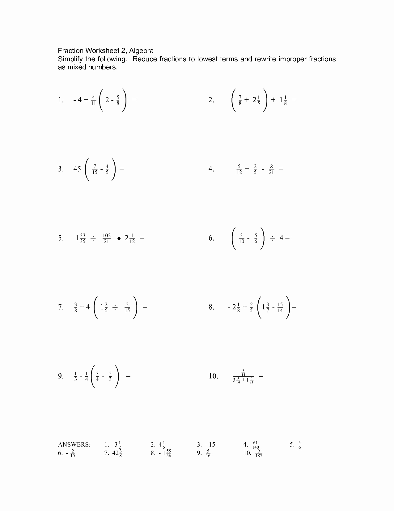 Simplifying Algebraic Expressions Worksheet Unique 14 Best Of Pre Algebra Fraction Worksheets Pre