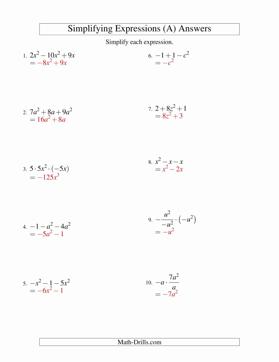 Simplifying Algebraic Expressions Worksheet Unique Simplifying Algebraic Expressions with E Variable and