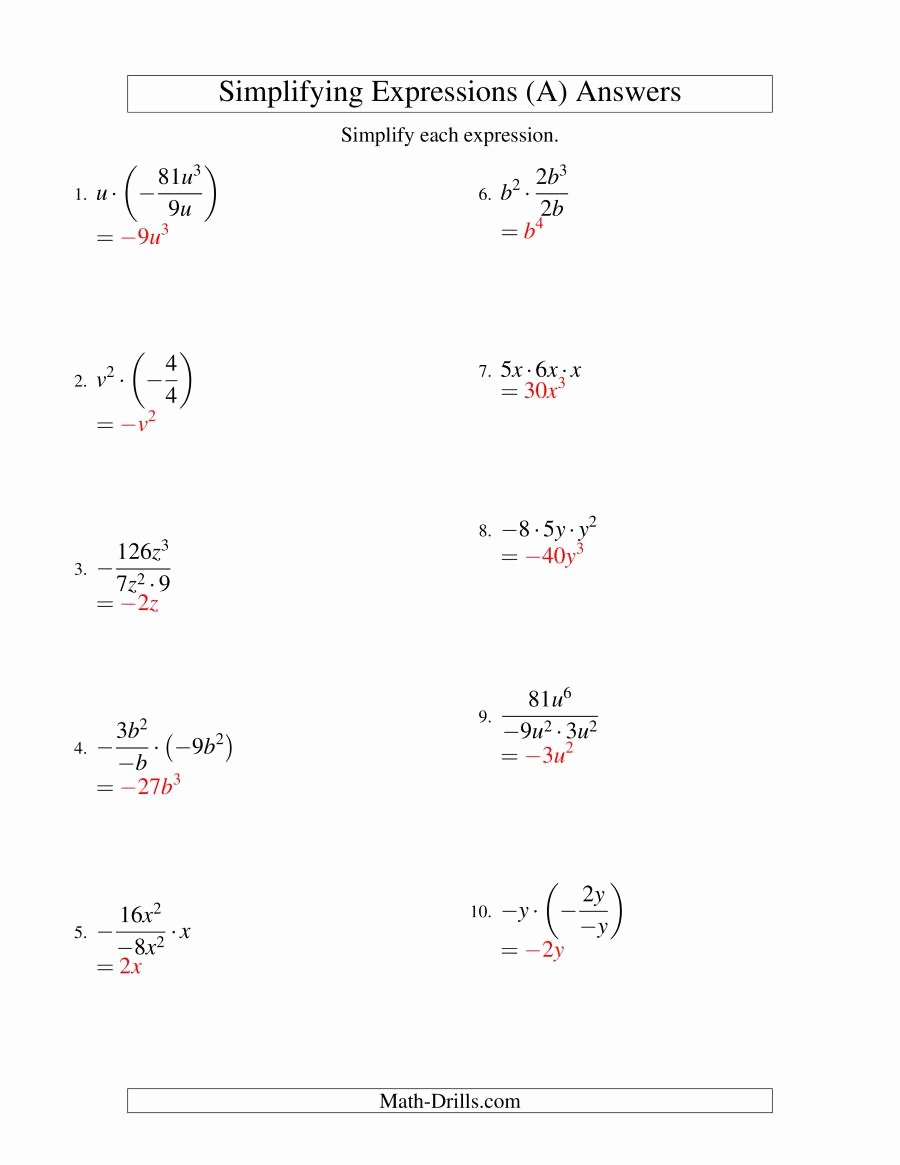 Simplifying Algebraic Fractions Worksheet Awesome Simplifying Algebraic Expressions with E Variable and