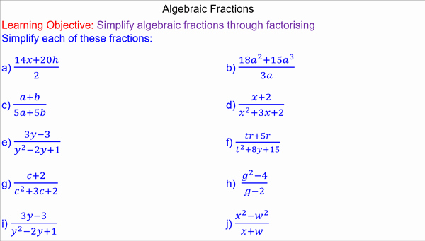 Simplifying Algebraic Fractions Worksheet Awesome Simplifying Algebraic Fractions Mr Mathematics