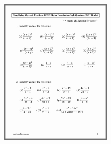 Simplifying Algebraic Fractions Worksheet Beautiful Algebraic Fractions Gcse Higher A A with Answers by