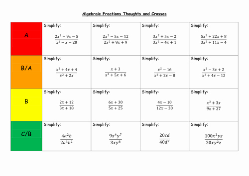 Simplifying Algebraic Fractions Worksheet Beautiful Algebraic Fractions thoughts and Crosses by Leond06