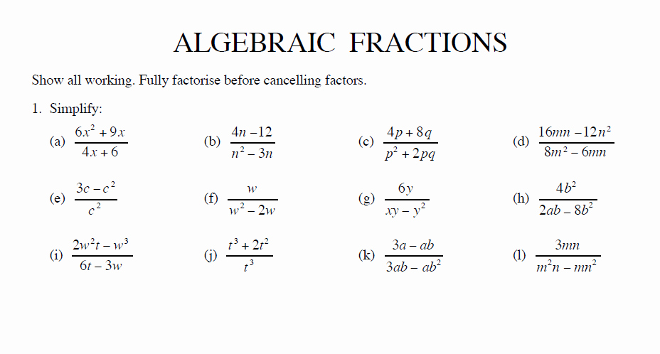 Simplifying Algebraic Fractions Worksheet Beautiful Simplify Algebraic Fractions Worksheet and Answers for Ks3