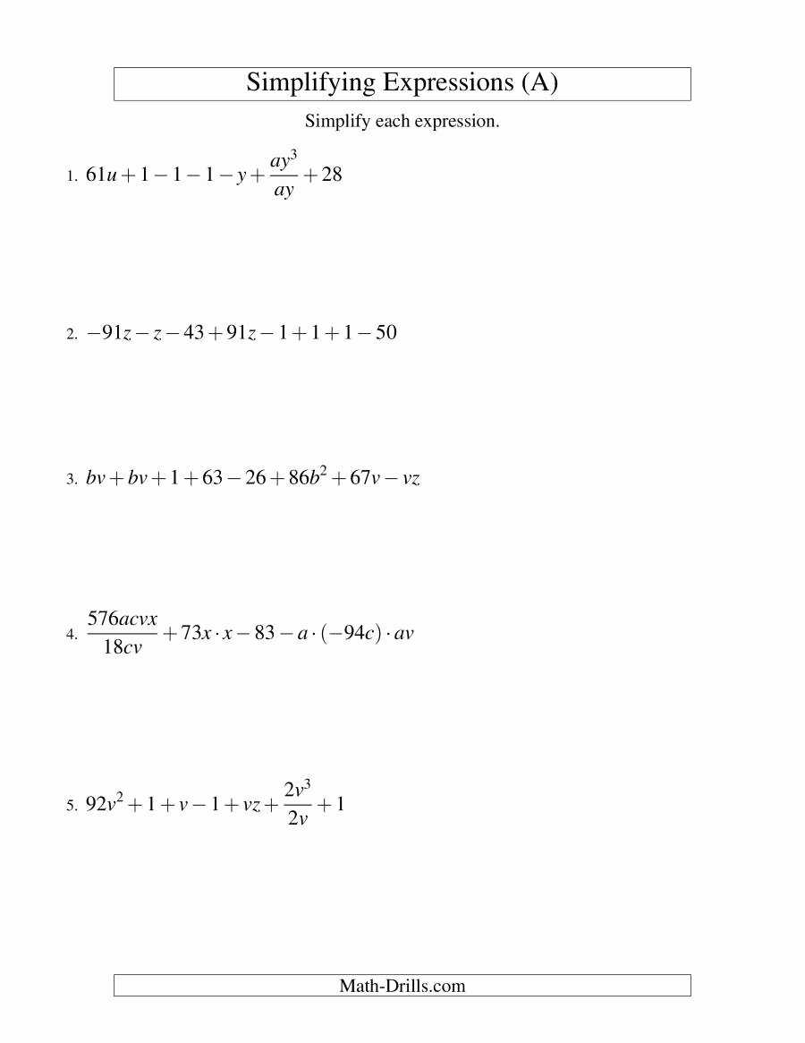 Simplifying Algebraic Fractions Worksheet Beautiful Simplifying Algebraic Expressions Challenge A