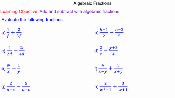 Simplifying Algebraic Fractions Worksheet Fresh Adding and Subtracting Algebraic Fractions