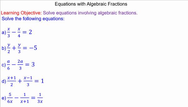 Simplifying Algebraic Fractions Worksheet Fresh Equations with Algebraic Fractions Mr Mathematics