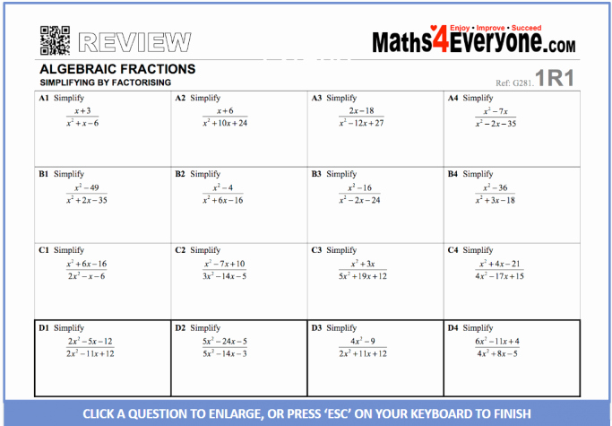 Simplifying Algebraic Fractions Worksheet Inspirational Simplifying Algebraic Fractions Gcse Revision Worksheets