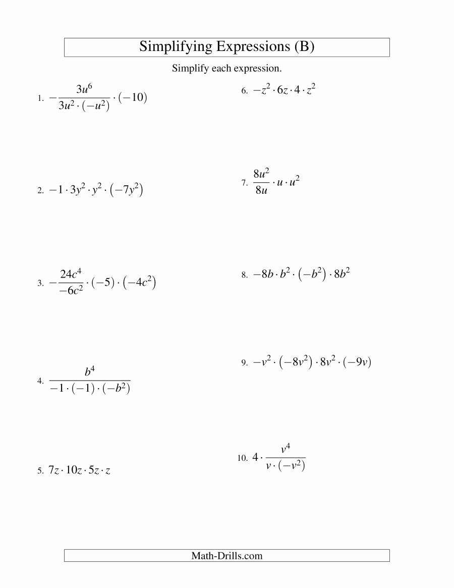 Simplifying Algebraic Fractions Worksheet Lovely Simplifying Algebraic Expressions with E Variable and