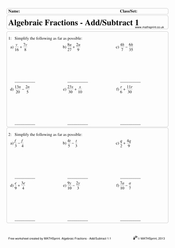 Simplifying Algebraic Fractions Worksheet Luxury Algebraic Fractions Practice Questions solutions by
