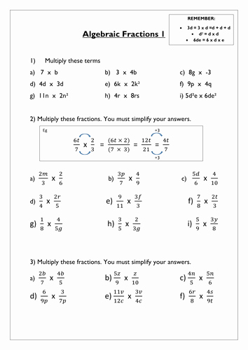 Simplifying Algebraic Fractions Worksheet Luxury Algebraic Fractions Worksheet by Hel466