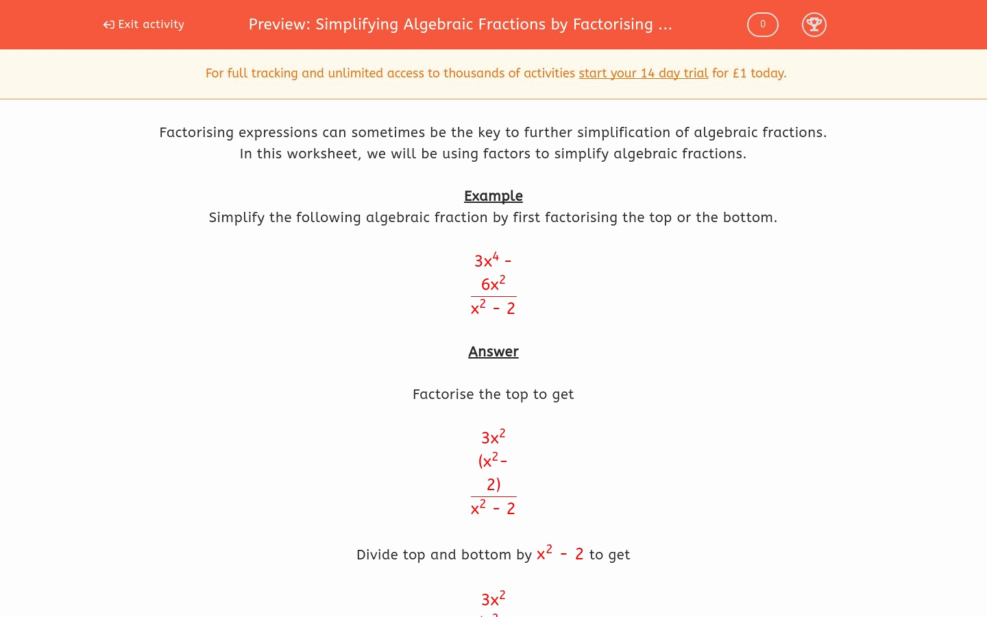 Simplifying Algebraic Fractions Worksheet Luxury Simplifying Algebraic Fractions by Factorising 1