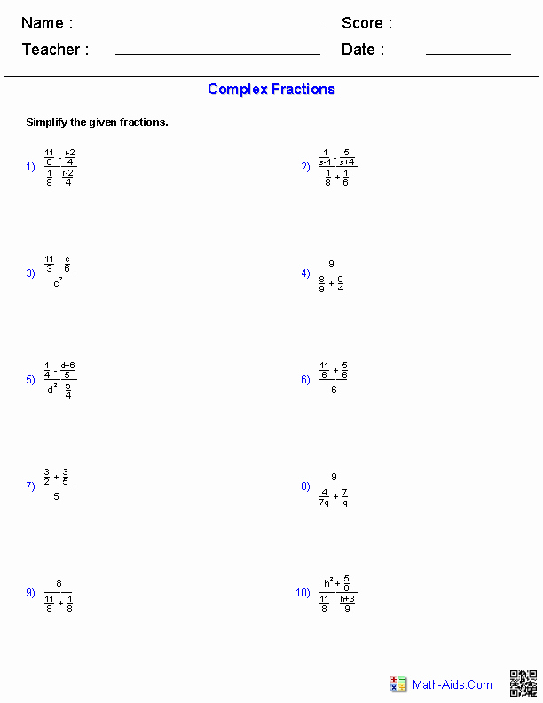 Simplifying Complex Fractions Worksheet Awesome Algebra 2 Worksheets