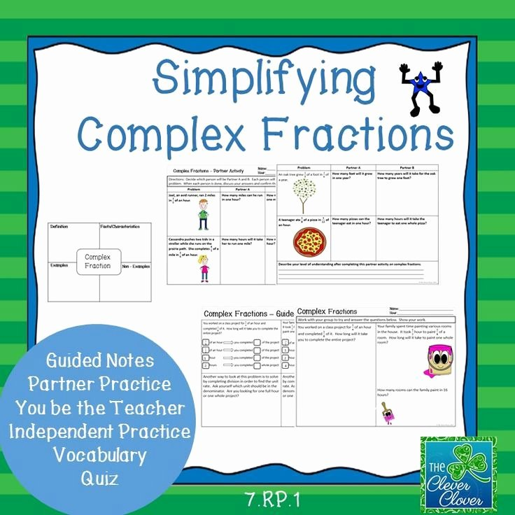 Simplifying Complex Fractions Worksheet Beautiful Simplifying Plex Fractions 7 Rp 1