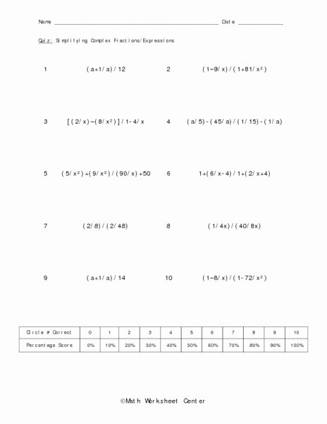 Simplifying Complex Fractions Worksheet Beautiful Simplifying Plex Fractions Expressions Worksheet for