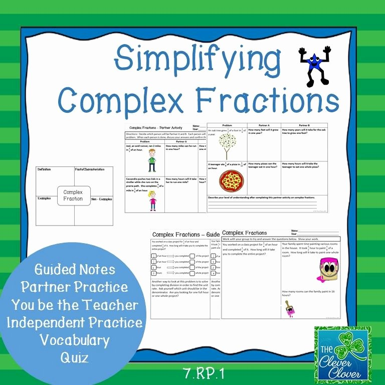 Simplifying Complex Fractions Worksheet Lovely Simplifying Plex Fractions 7 Rp 1