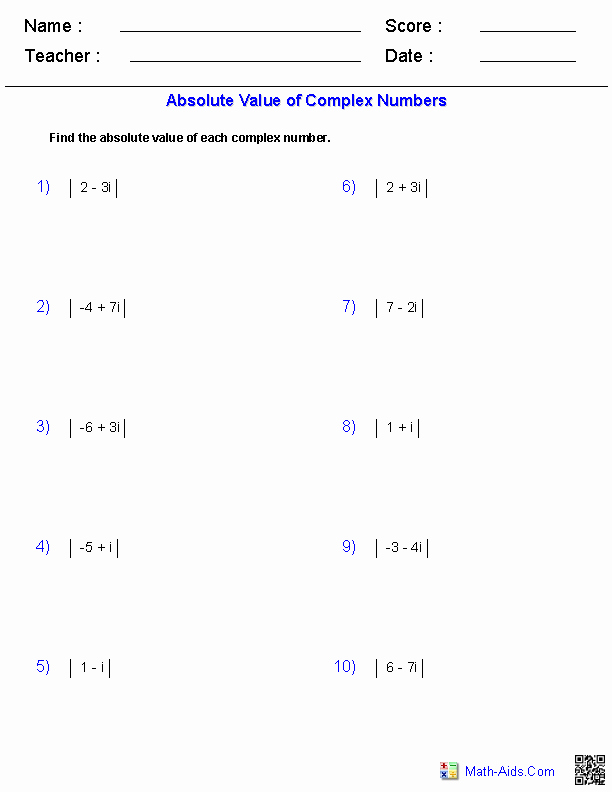 Simplifying Complex Numbers Worksheet Fresh Algebra 2 Worksheets