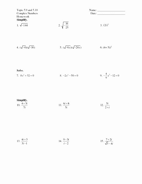 Simplifying Complex Numbers Worksheet Lovely topic 5 9 and 5 10 Plex Numbers Worksheet for 7th