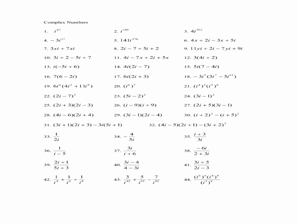 Simplifying Complex Numbers Worksheet Luxury Plex Numbers Worksheet for 10th 12th Grade