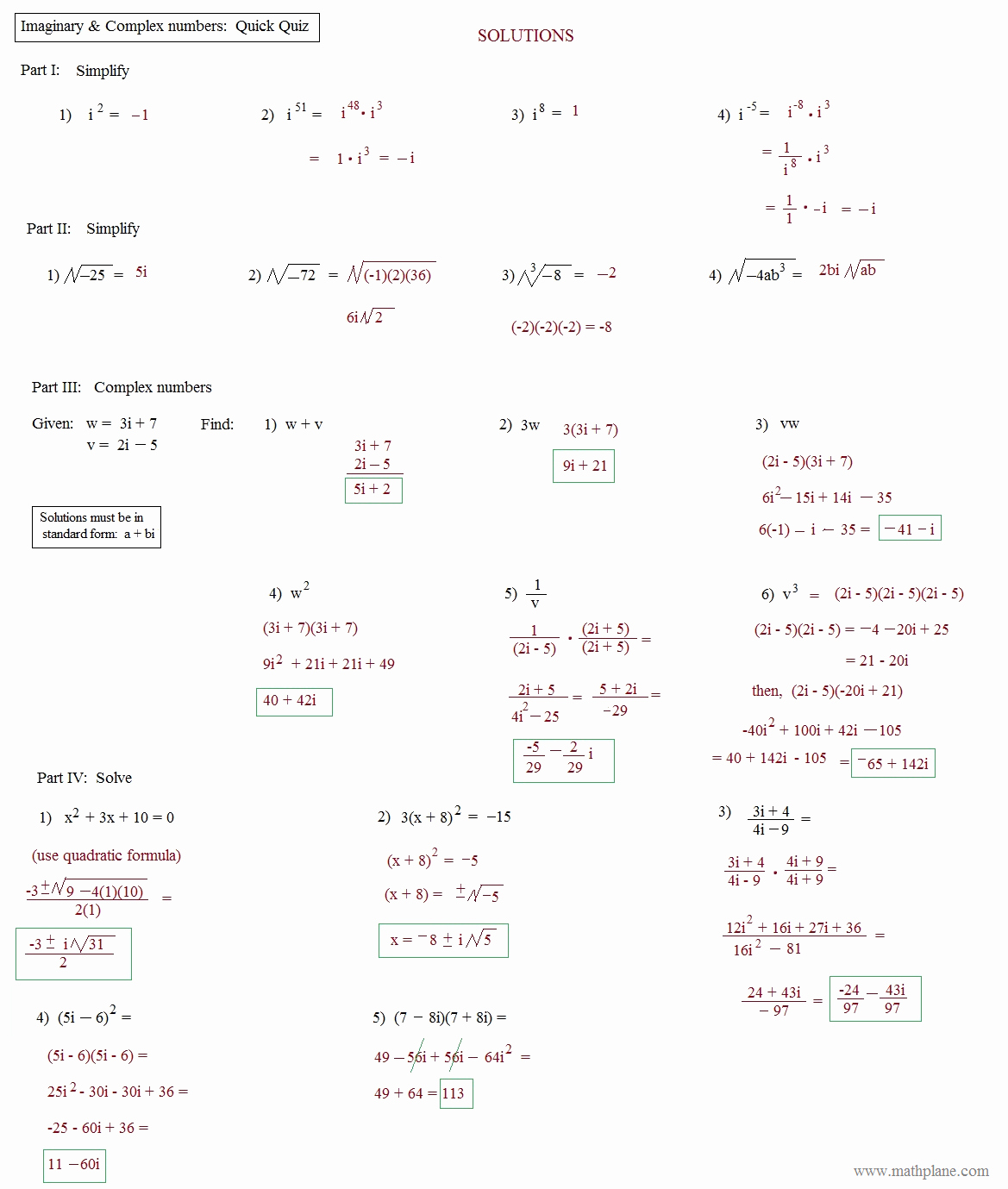 Simplifying Complex Numbers Worksheet New Math Plane Imaginary and Plex Numbers