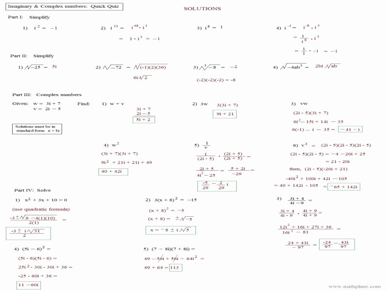 Simplifying Complex Numbers Worksheet New Simplifying Plex Numbers Worksheet Free Printable