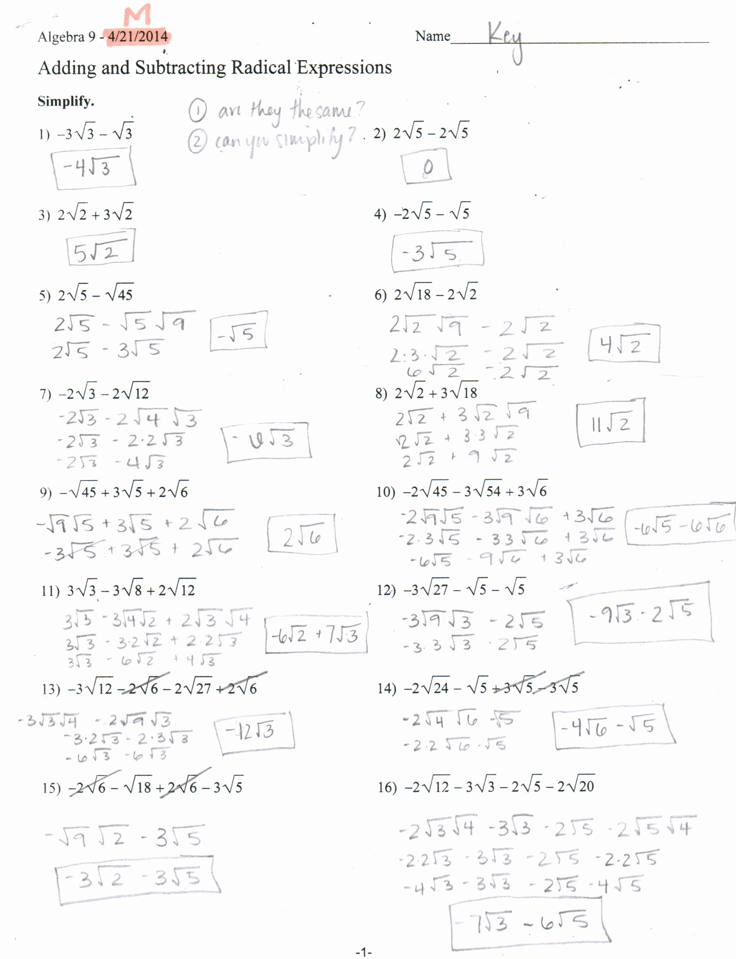 Simplifying Complex Numbers Worksheet New Simplifying Radicals Imaginary Numbers Worksheet Answers