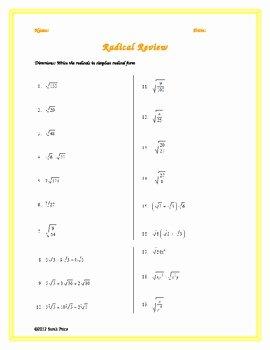 Simplifying Cube Roots Worksheet Beautiful Simplifying Radicals Practice Worksheet by Sarah Price