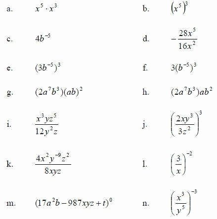 simplifying exponents worksheet