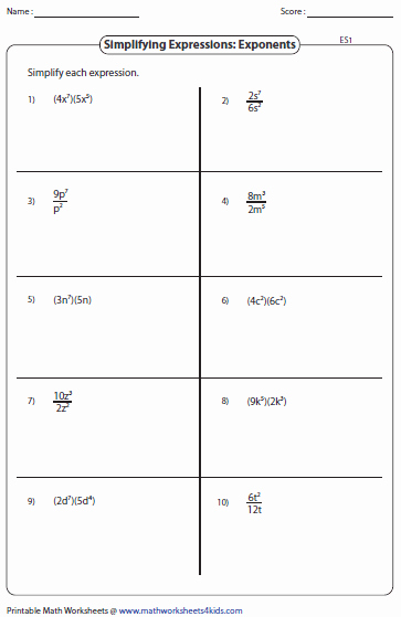 Simplifying Exponential Expressions Worksheet Lovely Simplifying Algebraic Expression Worksheets