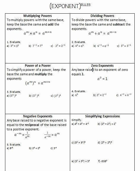 Simplifying Exponential Expressions Worksheet Unique Simplifying Exponents Worksheet