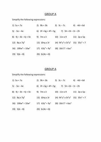 Simplifying Expressions Worksheet with Answers Elegant Simplifying Expressions by Dannytheref Uk Teaching