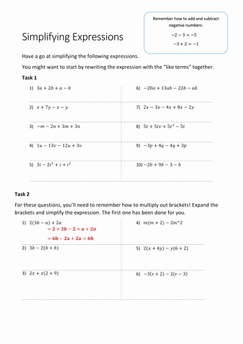 Simplifying Expressions Worksheet with Answers Inspirational Simplifying Expressions Worksheet by Oik