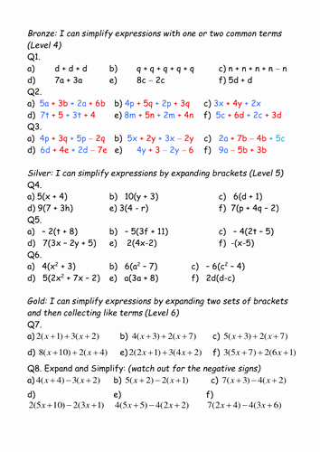 Simplifying Expressions Worksheet with Answers Lovely Expand Brackets and Simplify Expressions Differentiated