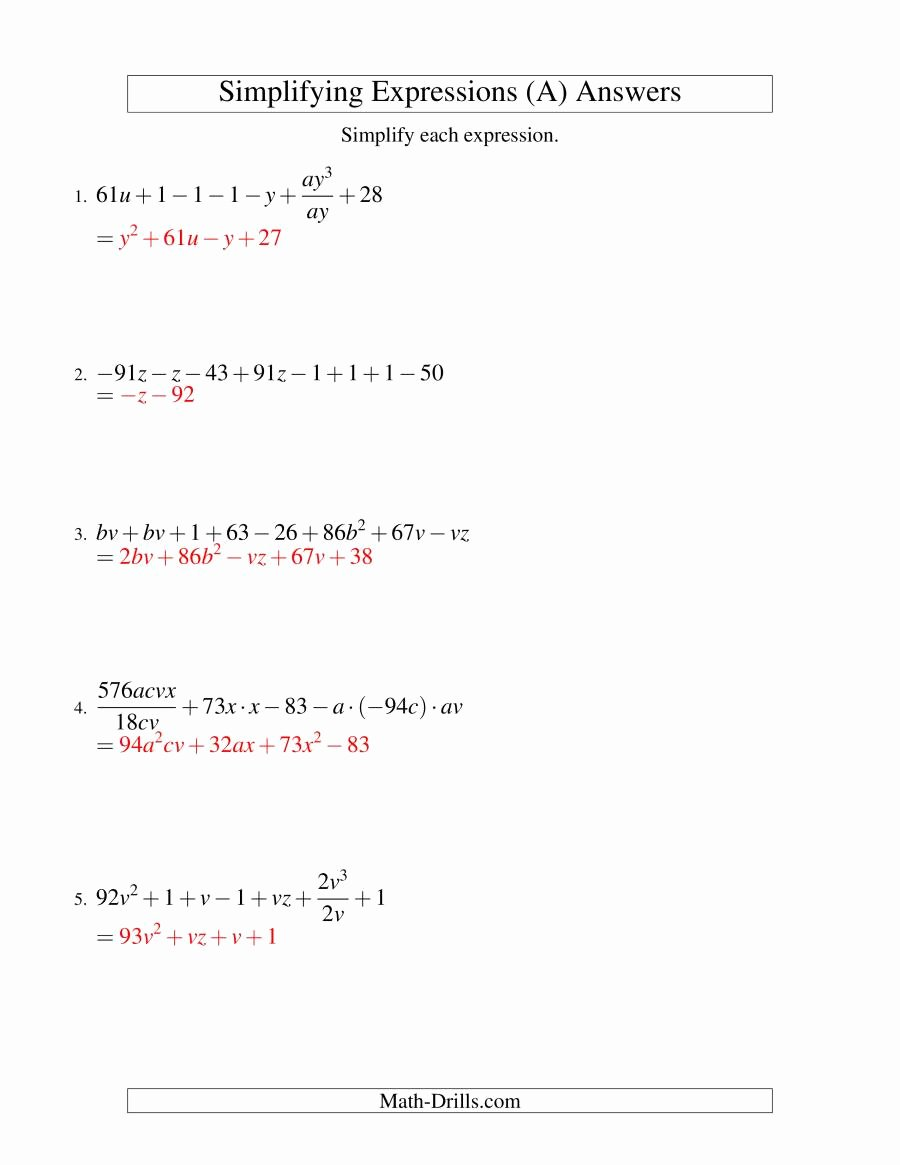 Simplifying Expressions Worksheet with Answers Unique Simplifying Algebraic Expressions Challenge A