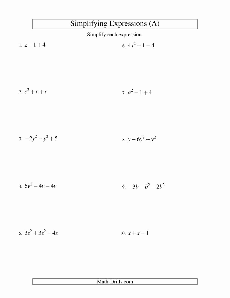 Simplifying Expressions Worksheet with Answers Unique Simplifying Algebraic Expressions with E Variable and