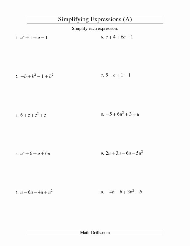 Simplifying Linear Expressions Worksheet Awesome Algebra Worksheet Simplifying Algebraic Expressions