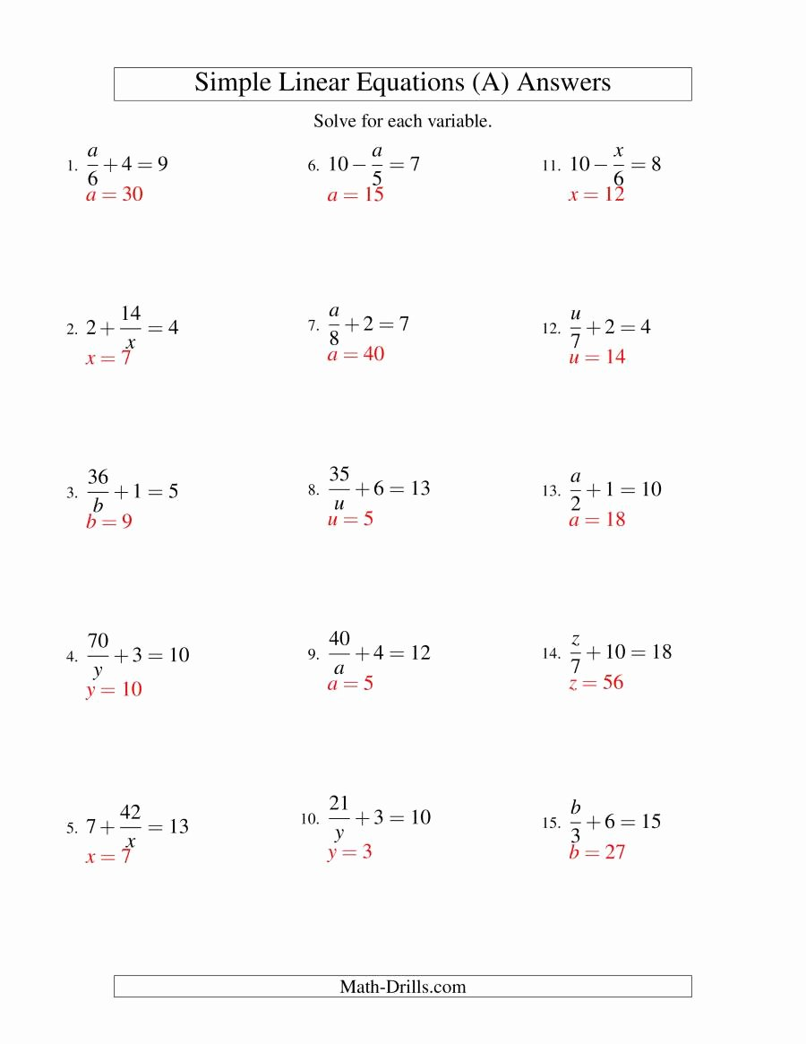 Simplifying Linear Expressions Worksheet Best Of solving Linear Equations Mixture Of forms X A ± B = C