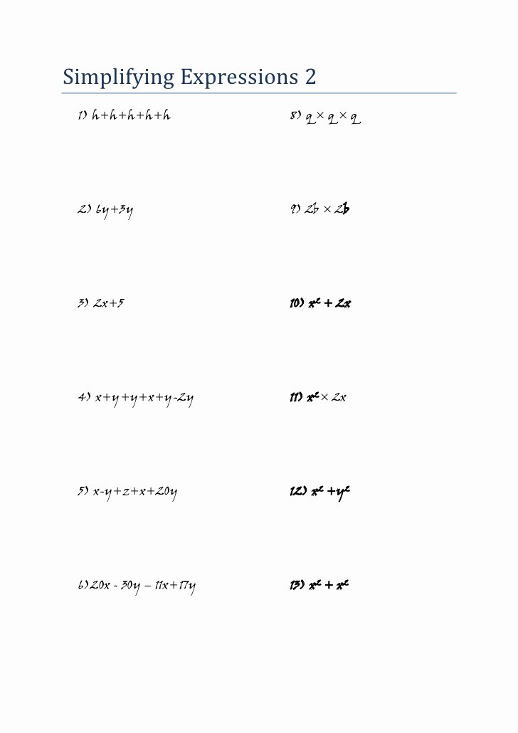 Simplifying Linear Expressions Worksheet Elegant Mathematics Algebra Worksheet Simplifying