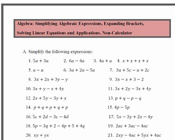 Simplifying Linear Expressions Worksheet New Simplify Algebraic Expressions Expand Brackets solve