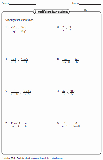 Simplifying Linear Expressions Worksheet New Simplifying Algebraic Expression Worksheets
