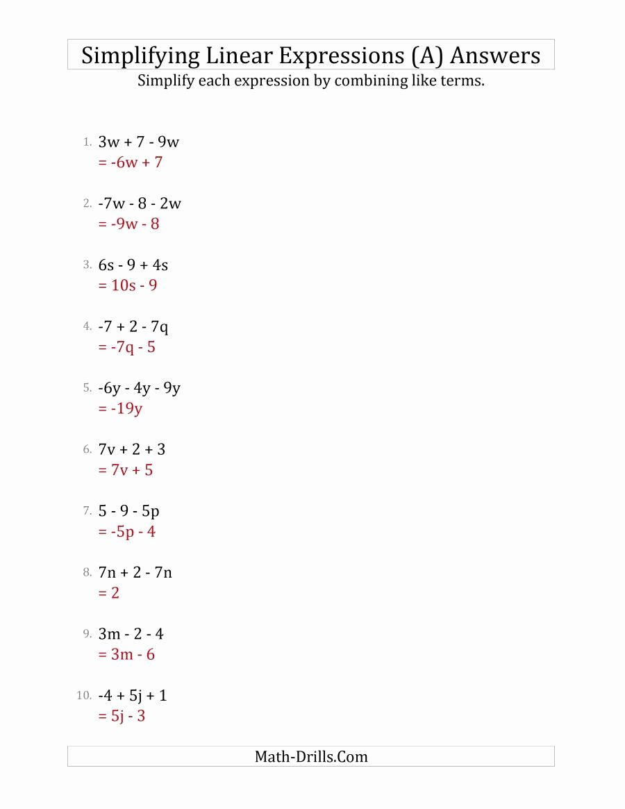 Simplifying Linear Expressions Worksheet Unique Simplifying Linear Expressions with 3 Terms A