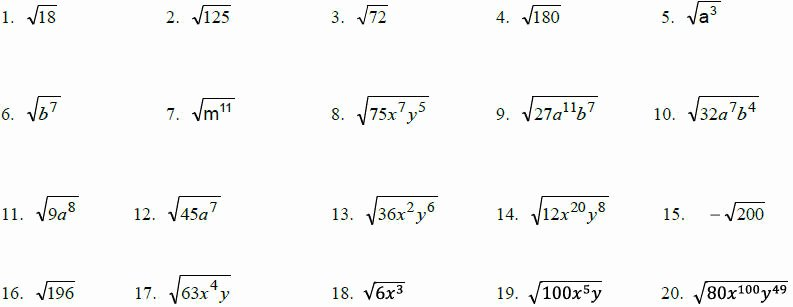 Simplifying Radical Expressions Worksheet Answers Fresh Simplifying Radical Expressions Algebra Helper