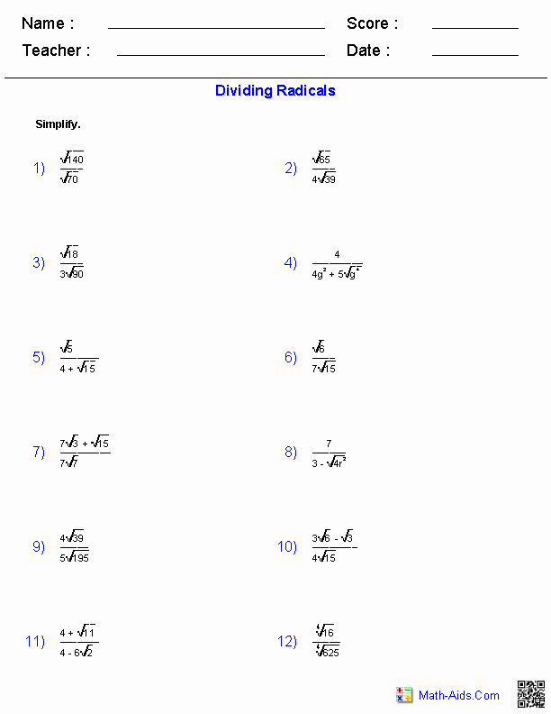 Simplifying Radical Expressions Worksheet Lovely Dividing Radical Expressions Worksheets