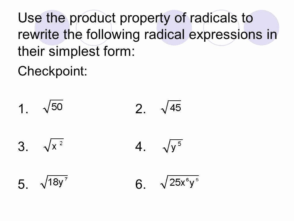 Simplifying Radical Expressions Worksheet Unique Simplifying Radicals Worksheet 1