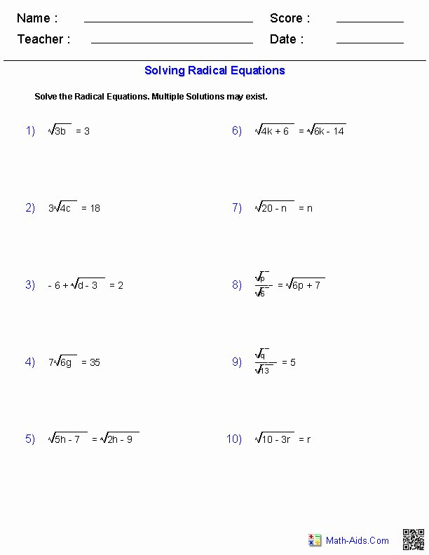 Simplifying Radicals Practice Worksheet Inspirational Simplifying Radicals Worksheet 1