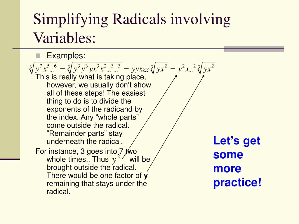 Simplifying Radicals with Variables Worksheet Fresh Ppt Simplifying Radical Expressions Powerpoint