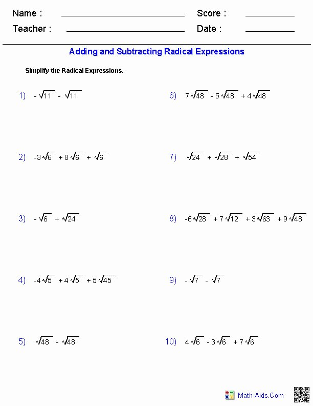 Simplifying Radicals with Variables Worksheet Fresh Simplify Radicals Worksheet